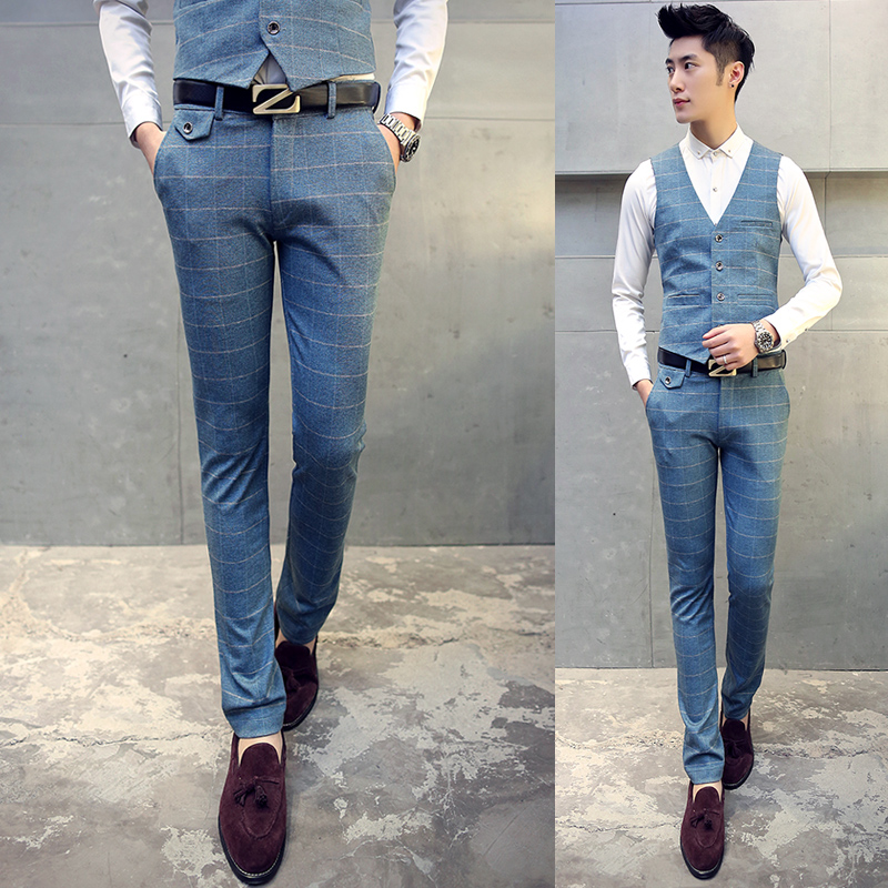 Men Plaid Formal Dress Blue Pants Autumn Winter TSuit Pants Men Thick Slim  Casual Trousers For Business Wedding High Quality In Suit Pants From Menu0027s  ...