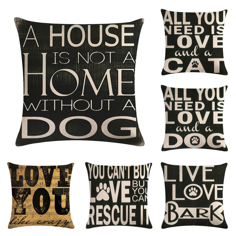 Fine Us 2 63 34 Off 45Cm 45Cm English Alphabet Dog And Cat Design Linen Cotton Throw Pillow Covers Couch Cushion Cover Home Decorative Pillows In Cushion Creativecarmelina Interior Chair Design Creativecarmelinacom