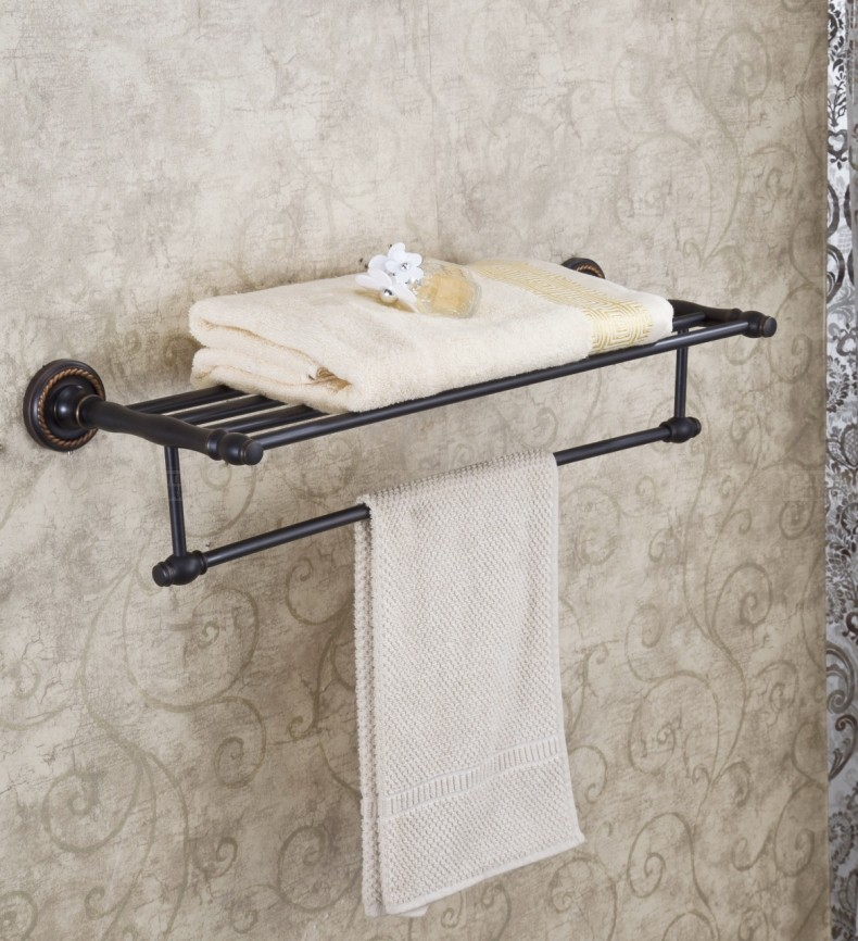 Wall Mount Bathroom Towel Shelf Clothes Towel Rack Holder Oil Rubbed Bronze contemporary oil rubbed bronze shower bathroom towel bar rack with tooth brush holder