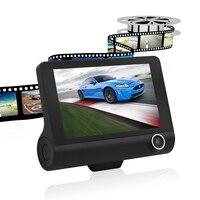 داش كاميرا 4 بوصة سيارة dvr الكاميرا الجديدة عدسة مزدوجة سيارة g-الاستشعار كاميرا فيديو hd 1080 وعاء الخلفية مسجل دفر عكس كاميرا فيديو