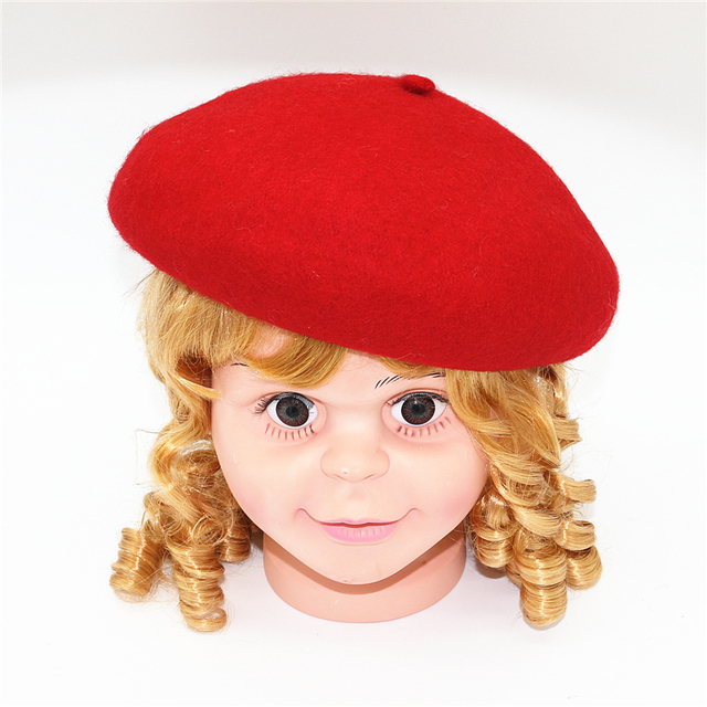 2018 fashion baby kids girl Beret hat cap Infant girls wool red Berets hats  child caps cap for girls 3-12 years free shipping 00fd57aa449