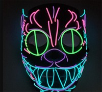 New Design Glowing Cat mask Halloween face mask children toys LED masks festival Neon Light Party Decoration B2247