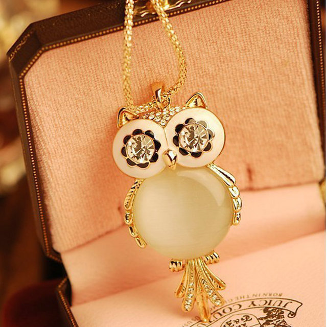 2017 New Brand Fashion Charms Crystal Owl Necklace Gem Cubic Zircon Gold Color Long Chain Necklaces&Pendants Women Jewelry 1