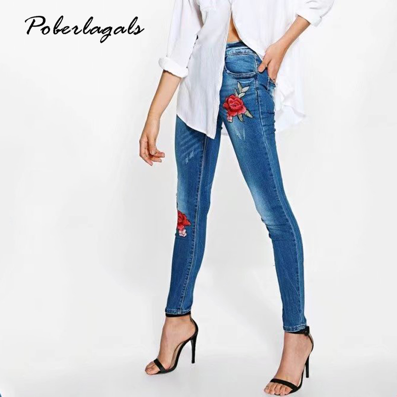 Denim embroidery flowers Slim jeans woman bottoms 2017 summer high waist jeans female Casual  pants capris Women 's pencil pants flower embroidery jeans female blue casual pants capris 2017 spring summer pockets straight jeans women bottom a46
