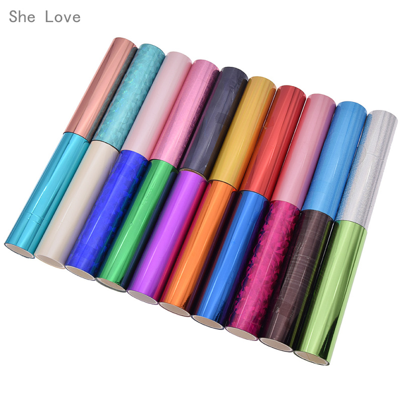 She Love 5M Hot Stamping Foil Multicolor 1 Roll Paper Holographic Heat Transfer Vinyl DIY Crafts