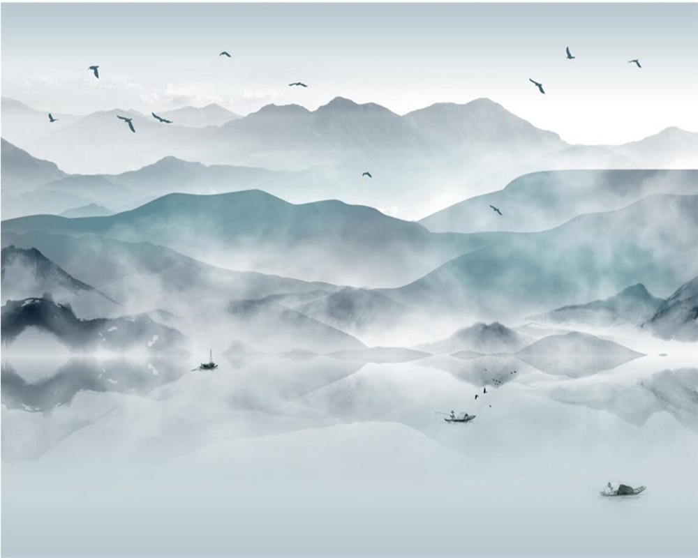 Купить с кэшбэком Beibehang Custom photo wallpaper abstract ink landscape painting modern living room bedroom background wallpaper for walls 3 d