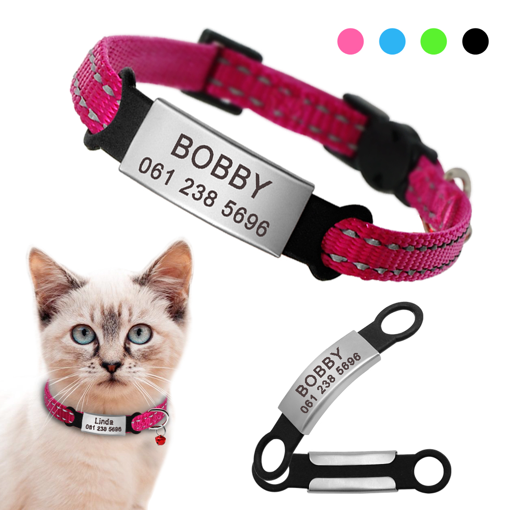 Nylon Cat Collar Personalized Pet Collars With Name ID Tag Reflective Chihuahua Kitten Collars Necklace For Pets Dog Accessories image