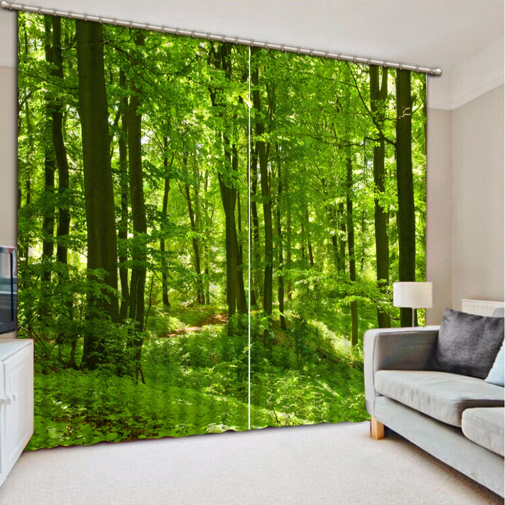 3D Curtain Photo Customize Size Green Woods Curtain Bedroom Living Room Office Cortinas Breakdown Bathroom Shower