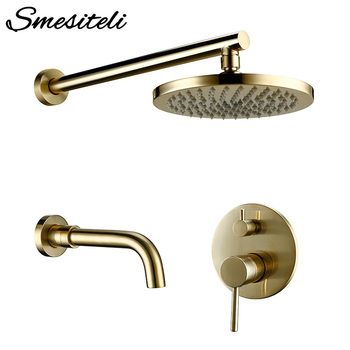 цена на Luxury Matt Brushed Gold Brass Round Shower Set Bathroom Brushed Faucet Rainfall Wall-Mount Headshower Mixer System Set