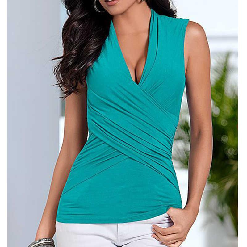 9e50178bf5a8 ... Women t-shirts Slim sleeveless Women sexy Tops New Summer Women s Cross  V-neck