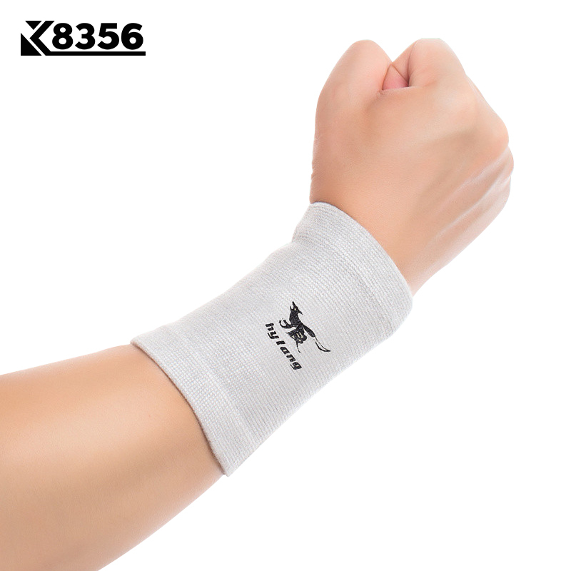 K8356 1Pair Bamboo Charcoal Wrist Support Sweat-absorbent Breathable Wrist Wraps Volleyball Tennis Sports Safety Wristband Gray ...