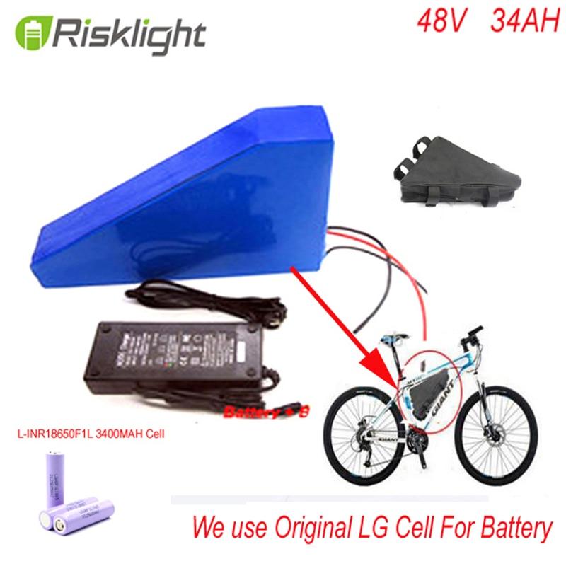 Batterie au lithium 48 v 34ah triangle 48 v batterie ebike 48 v 1000 w batterie li-ion pour vélo électrique pour cellule LG 18650