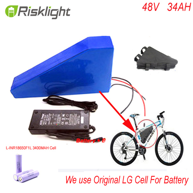 48v 34ah triangle lithium battery 48v ebike battery 48v 1000w li-ion battery pack for electric bicycle For LG 18650 cell