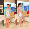 Short Cocktail Dresses Cap Sleeve Sexy See Through Prom Dress With Lace Appliques Dress to Party Vestido de festa curto