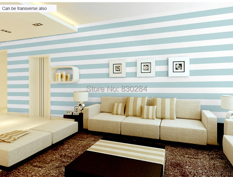 Blue and white striped wallpaper home my web value for Striped wallpaper living room ideas