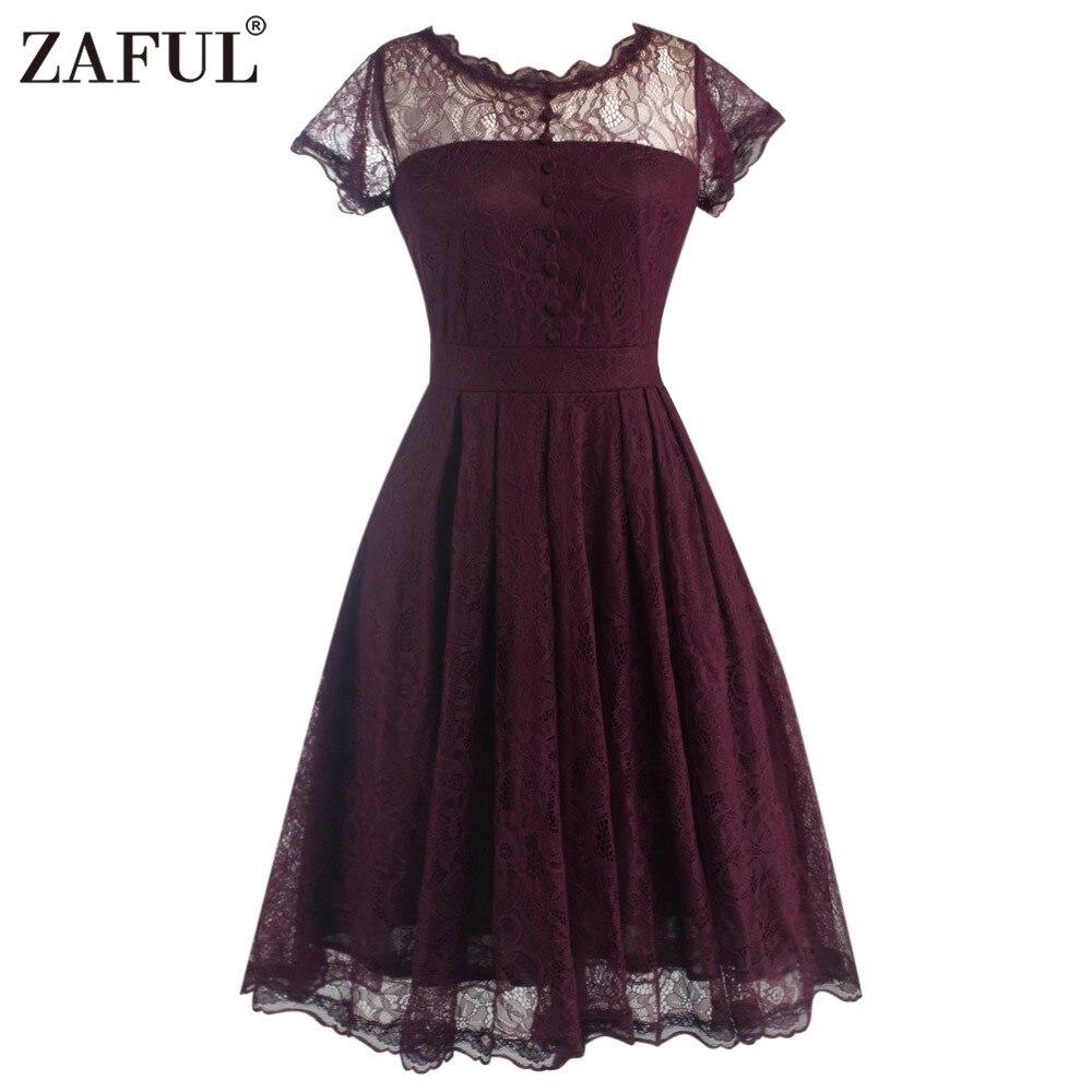 ZAFUL New Women Lace Retro Vintage Pleated Dress Elegant ... - photo #26