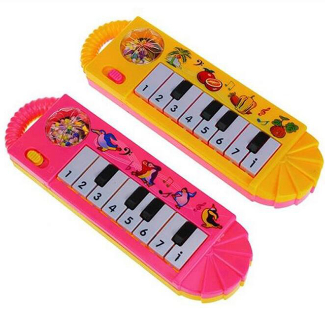 1 Piece Plastic Baby Children Electric Piano Musical Instruments Rattles Hand Bell Infant Newborn Preschool Learning Toys Gifts 1