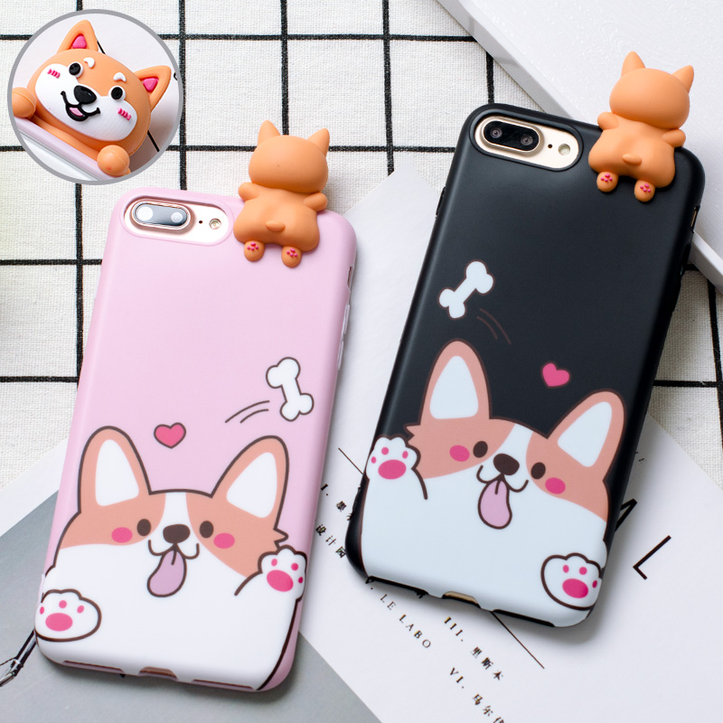3D Welsh Corgi dog phone Cases For iphone X 6 6s 6plus 7 7Plus Cute pet dog Toys soft silicon case for iphone 8 8plus back cover