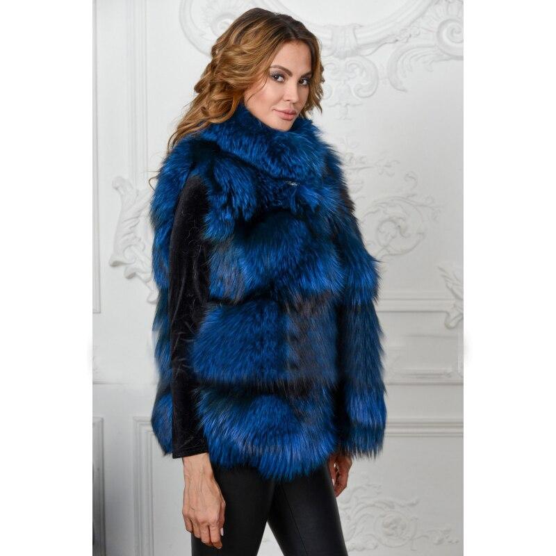 Renard Femmes Bleu Gilet De Fourrure Réel Couleur Topfur Col Hiver Mode Manteau Veste Pour Luxe Les Épais Naturel D'hiver Avec q0PfwZ