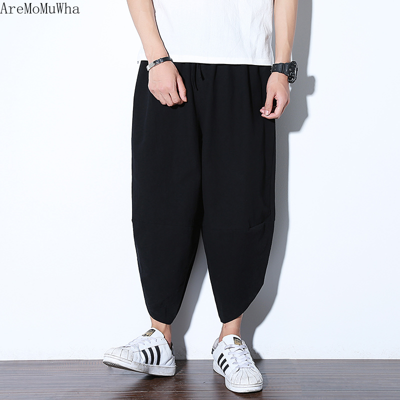 Aremomuwha Pants Men's Wide-Legs Loose Casualqx673 Chinese-Style Seven-Points Cotton