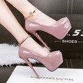 2017 Coreano Dedo Do Pé Redondo Strass Mulheres Bombas À Prova D' Água Simples Sexy Alta-sapatos de salto alto Saltos Finos Sapatos Única Fêmea