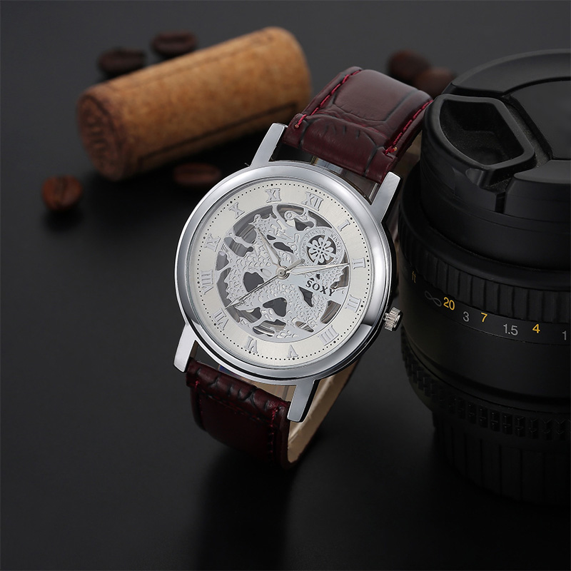SOXY Luxury Brand Watch Fashion Hollow Out Skeleton Dial Quartz Watches Men Leather Analog Watch Hombre Hour relogio masculino men s quartz relogio masculinos dial glass time men clock leather business round case hour watch relojes hombre levert dropship