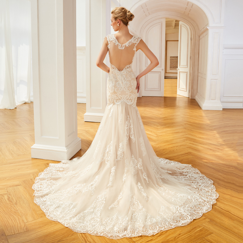 Dressv Ivory Long Wedding Dress V Neck Cap Sleeves Tulle Appliques Court  Train Backless Mermaid Church Custom Wedding Dress-in Wedding Dresses from  Weddings ... a6b1072a952a