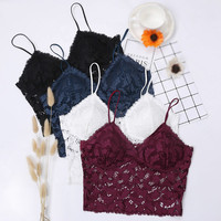 2019 Camisole Top Woman Hot Sale Solid Lingerie Sling Us Back Vest Without Steel Slim Strap Chest Pad Lace French Women