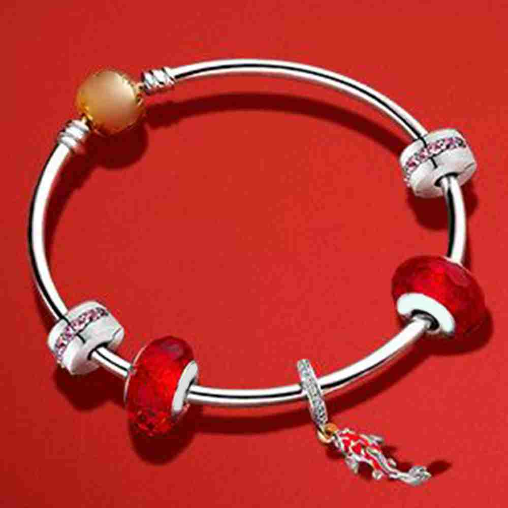 Kristie 100% 925 Sterling Silver 797829CZ GOOD FORTUNE CARP HANGING CHARM Bangle Set Happy New Year GiftKristie 100% 925 Sterling Silver 797829CZ GOOD FORTUNE CARP HANGING CHARM Bangle Set Happy New Year Gift