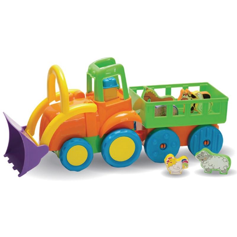 Cartoon 0-3 ans infantile bébé en plastique modèle ferme tracteur Set jouets pour enfants apprentissage précoce voiture éducative cadeaux d'anniversaire