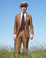 2018 עיצובים צפצף המעיל האחרונים פשתן חום חליפות הגברים Slim Fit קיץ חוף סגנון בלייזר טוקסידו נישואים 2 Piece מעיל + מכנסיים Terno