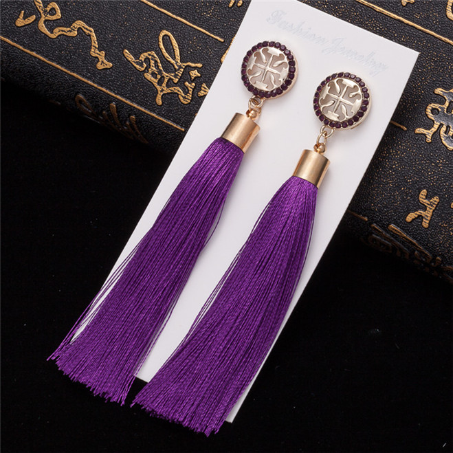 HTB1HPmkV3TqK1RjSZPhq6xfOFXaU - HOCOLE Bohemian Crystal Tassel Earrings Black White Blue Red Pink Silk Fabric Long Drop Dangle Tassel Earrings For Women Jewelry