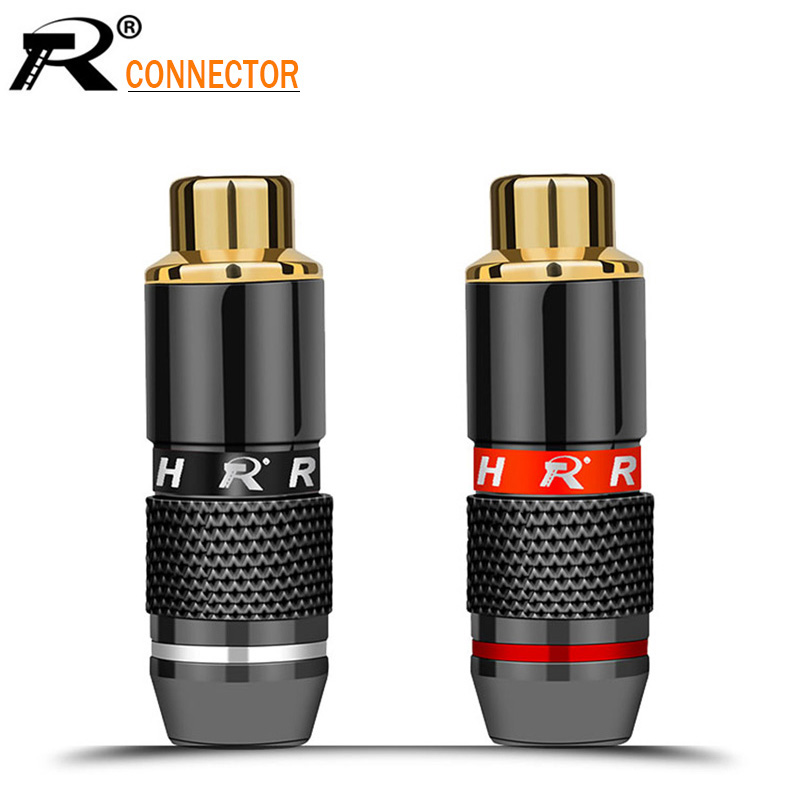 2Pcs/1Pair High Quality RCA Connector Gold Plated RCA Plug Jack Socket Audio Adapter Black&red In 1pair Speaker Plug