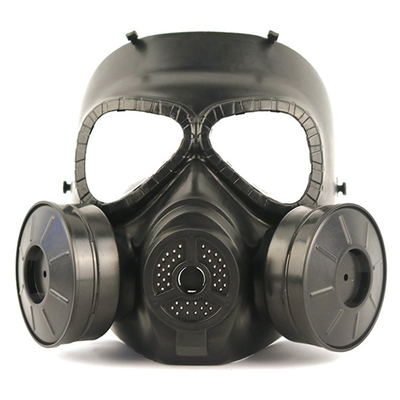 Double Irrigation Built-in Fan Gas Mask Outdoor Field Protective Mask Tactical Mask Full Face Fog Fan