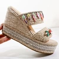 10cm Heel Platform Wedges Slippers Summer Bohemian Shoes Fashion Colored Rhinestones Wedges Shoes Hemp Rope Ladies Sandals