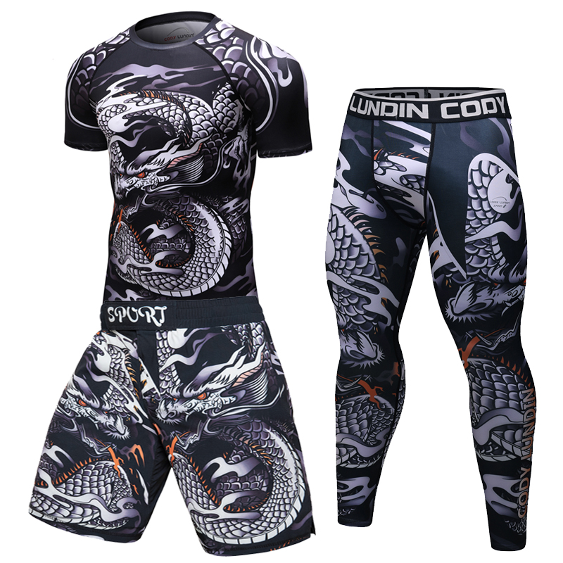 Brand New Men Tracksuit Sports Suit Gym Fitness Compression Clothes Running Jogging Sport Wear Exercise Workout Rashguard Tights
