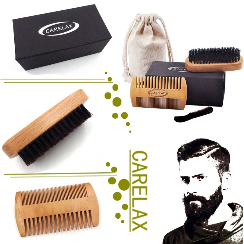 Shaving Brush Comb Set Natural Boar Bristle Beard Brush Natural  badger tooth Comb for Man Gift Box Barber set macadamia boar bristle paddle brush
