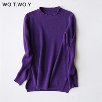 WOTWOY Autumn Winter Cashmere Sweaters Women Pullovers Long Sleeve Jumpers O Neck Solid Color Women