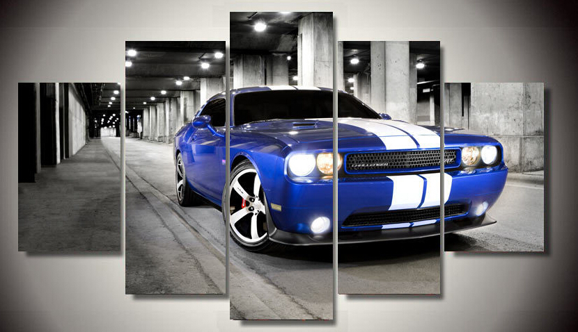 Framed Printed Car Dodge Challenger 5 Piece Picture Painting Wall Art Living Room Decor Poster