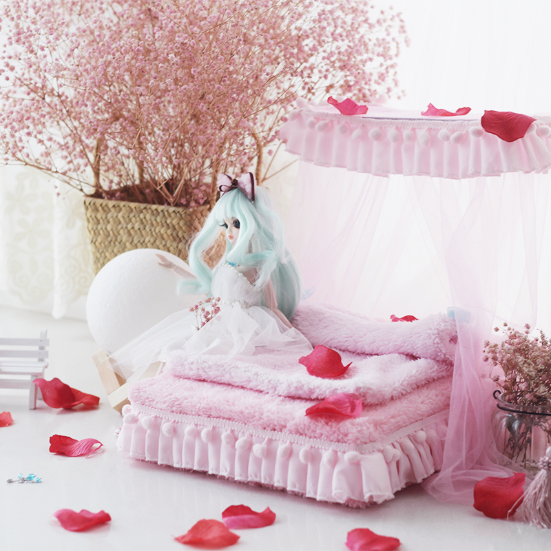 1/6 Dollhouse Furniture Toy For Dolls Pink Soft Bed Model Sets Bjd Doll Miniature Simulation Bed Pretend Play Toys Girls Gifts