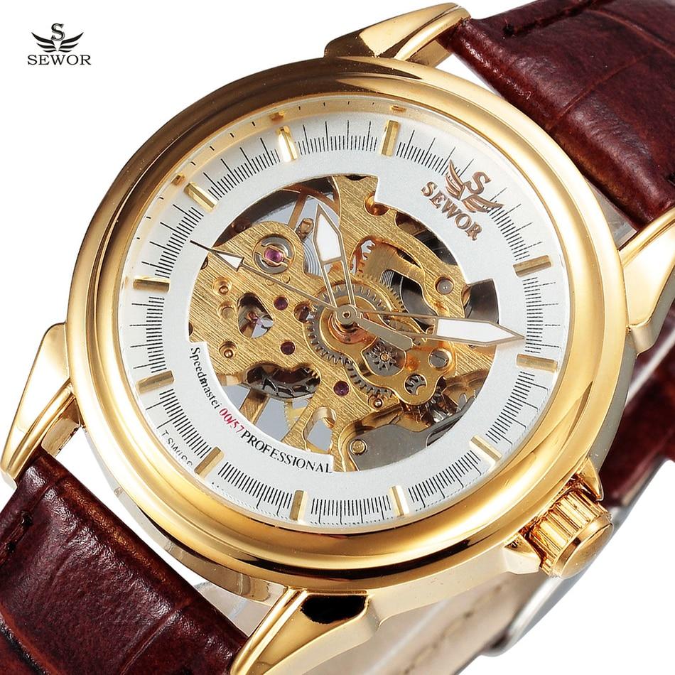 где купить SEWOR Top Brand Gold Skeleton Mechanical Watch Men Leather Wristwatches Casual Watches Clock Montre Homme Relogio Masculino по лучшей цене
