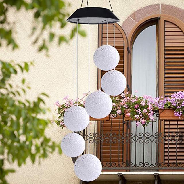 Güneş enerjili rüzgar Chime işık Led bahçe asılı Spinner lamba renk değiştiren ışıklı dekore edilmiş balkon oturma odası #10 #10
