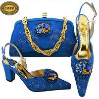 MM1057 Royal Blue All'ingrosso Stile Africano Giallo Scarpe E Borsa Fashion Nigeriano di Nozze Adulto Scarpe Tacchi Alti Corrispondenza Borsa Onli