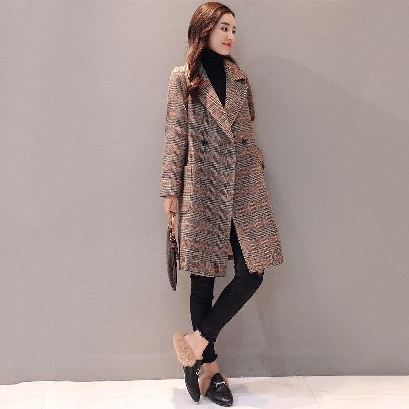 Women's Parker Long Section 2019 Spring Autumn New Woolen Coat Korean Lattice Jacket Popular Herringbone Woolen Outerwear winter