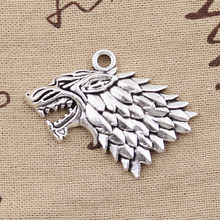 2 Pcs Pesona Ice And Fire Dire Wolf 32X44 Mm Antik Membuat Liontin Fit vintage Tibet Perak Perunggu DIY Perhiasan Buatan Tangan(China)