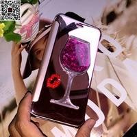 Luxury Rhinestone Mirror Flip Leather Case For Redmi Note 5A Pro Wine Cup Diamond Case For