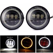Из 2 предметов 4,5 дюйма прохождение свет светодиодный Противотуманные огни с halo Кольцо для мотоциклов
