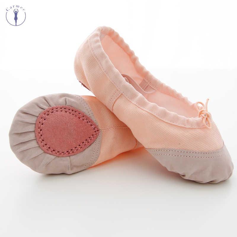 Bé gái Giày Khiêu Vũ Mềm Vải và Da Đầu Vũ Trơn Ba Lê Giày Ballerina Giày
