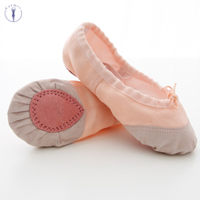 Girls Dance Shoes Soft Canvas and Leather Head Slipper Ballet Ballerina