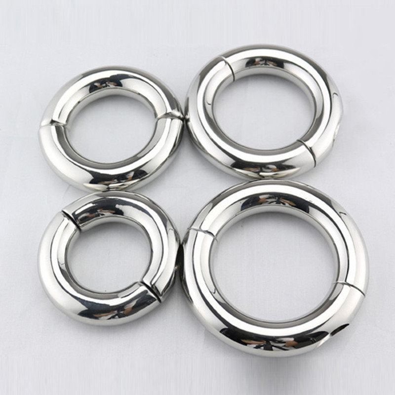 Stainless Steel Penis Ring Ball Stretcher Delay Lasting Metal Cock Ring Scrotum Restraint Testicular Chastity Device for Men